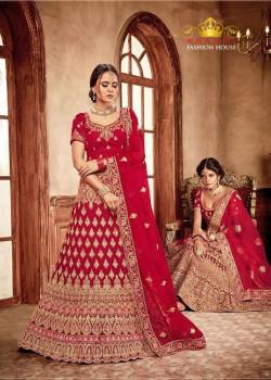 Gorgeous Red - Gold color Velvet  Wedding Lehenga