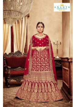 Enigmatic Red - Gold color Velvet  Wedding Lehenga