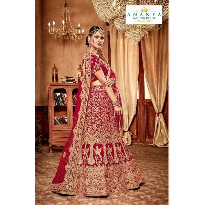 Exotic Red - Gold color Velvet  Wedding Lehenga