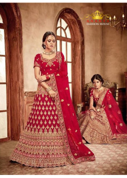 Gorgeous Red - Gold color Velvet  Wedding Lehenga