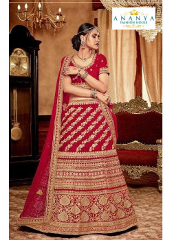 Incredible Red - Gold color Velvet  Wedding Lehenga