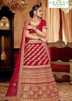 Incredible Red - Gold color Velvet  Wedding Lehenga
