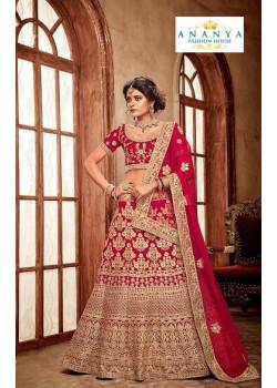 Magnificient Red - Gold color Velvet  Wedding Lehenga