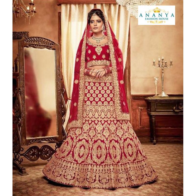 Plushy Red - Gold color Velvet  Wedding Lehenga