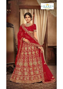 Adorable Red - Gold color Velvet  Wedding Lehenga