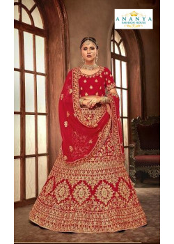 Flamboyant Red - Gold color Velvet  Wedding Lehenga