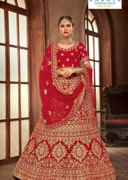 Flamboyant Red - Gold color Velvet  Wedding Lehenga