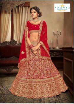 Trendy Red - Gold color Velvet  Wedding Lehenga