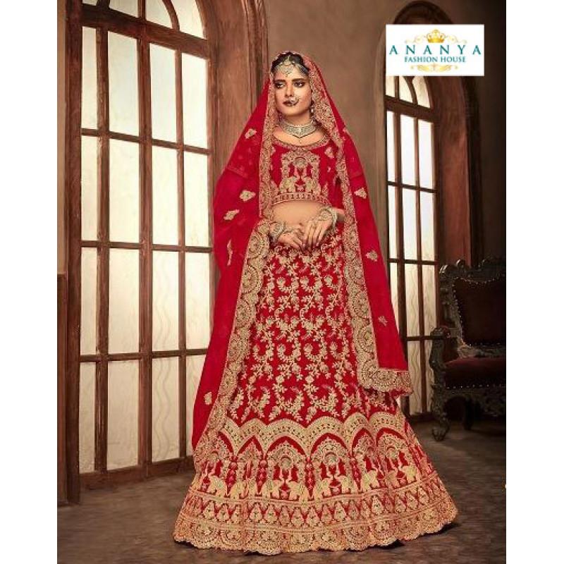 Melodic Red - Gold color Velvet  Wedding Lehenga
