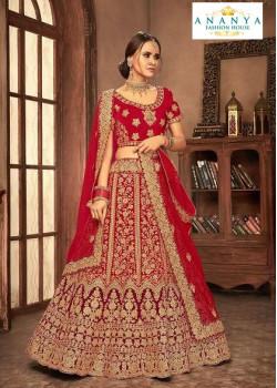 Classic Red - Gold color Velvet  Wedding Lehenga