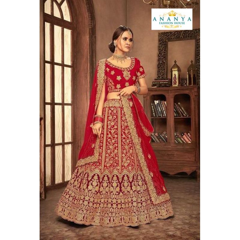 Classic Red - Gold color Velvet  Wedding Lehenga