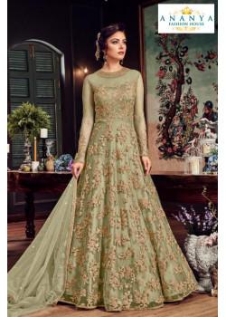 Plushy Pista Green Net- Satin Salwar kameez