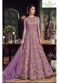 Classic Purple Net- Satin Salwar kameez