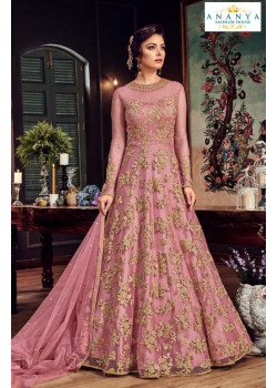 Incredible Pink Net- Satin Salwar kameez