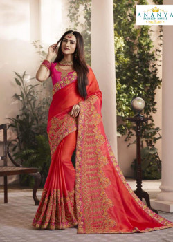 Incredible Red Silk Saree with Pink Blouse