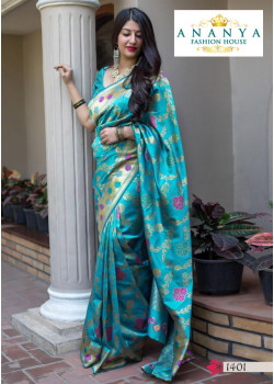 Melodic Light Blue Silk Saree with Blue Blouse