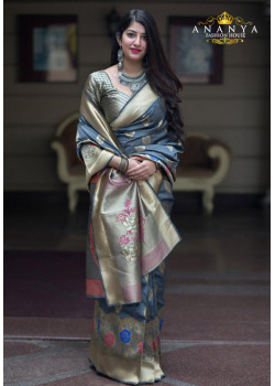 Luscious Multicolor Silk Saree with Gold Blouse