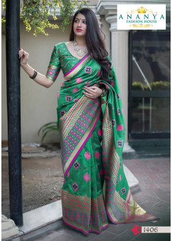 Trendy Green Silk Saree with Green Blouse