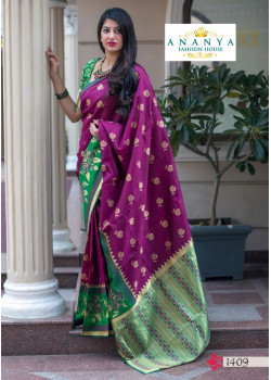 Dazzling Magenta- Green Silk Saree with Green Blouse