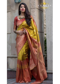 Adorable Multicolor Silk Saree with Red Blouse