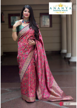 Divine Pink Silk Saree with Green Blouse
