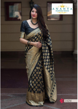 Flamboyant Black- Gold Silk Saree with Black Blouse