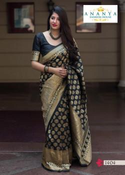Flamboyant Black- Gold Silk Saree with Black Blouse