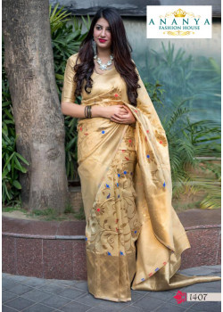 Melodic Gold Silk Saree with Gold Blouse