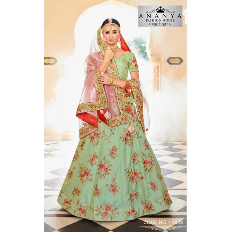 Divine Pista Green color Silk Designer Lehenga