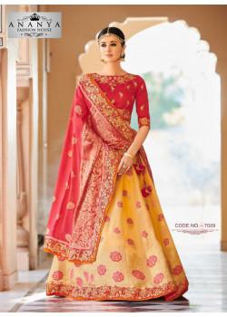 Enigmatic Liight Yellow color Banarasi Tissue Designer Lehenga