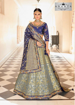 Charming Grey color Banarasi Tissue Designer Lehenga