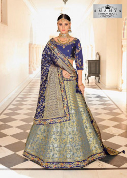 Charming Grey color Banarasi Tissue Designer Lehenga