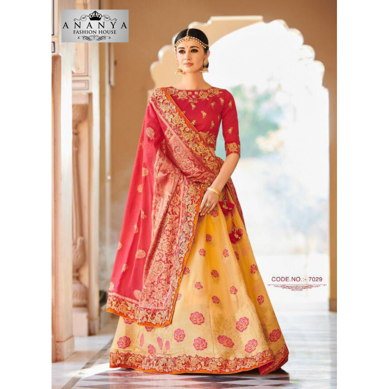 Enigmatic Liight Yellow color Banarasi Tissue Designer Lehenga