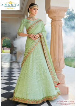 Exotic Pastel Green color Lakhnavi Silk Designer Lehenga
