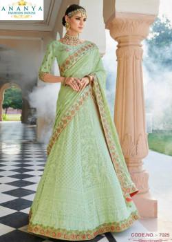 Exotic Pastel Green color Lakhnavi Silk Designer Lehenga