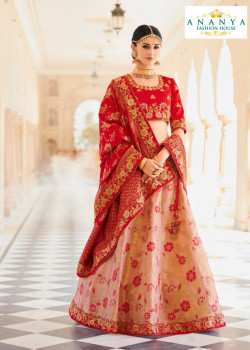 Incredible Pink color Banarasi Tissue Designer Lehenga
