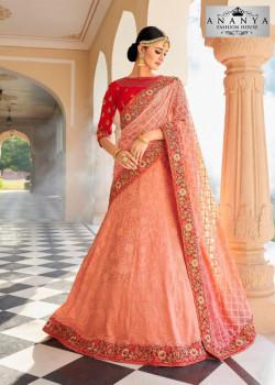 Magnificient Pink color Lakhnavi Silk Designer Lehenga