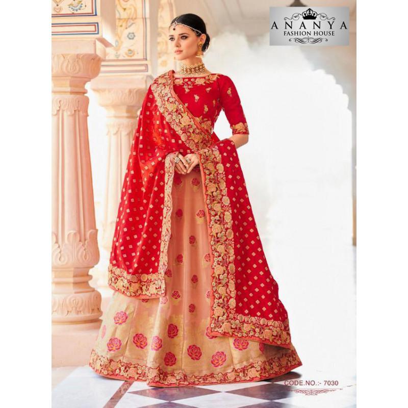 Melodic Peach color Banarasi Tissue Designer Lehenga