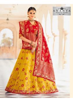Plushy Yellow color Banarasi Tissue Designer Lehenga