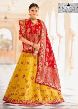 Plushy Yellow color Banarasi Tissue Designer Lehenga