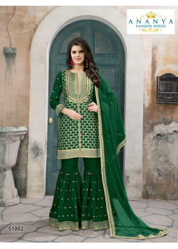 Charming Dark Green- Gold Silk- Santoon Salwar kameez