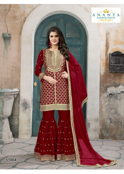 Divine Red- Gold Silk- Santoon Salwar kameez