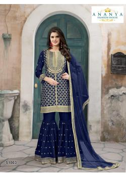 Dazzling Dark Blue- Gold Silk- Santoon Salwar kameez
