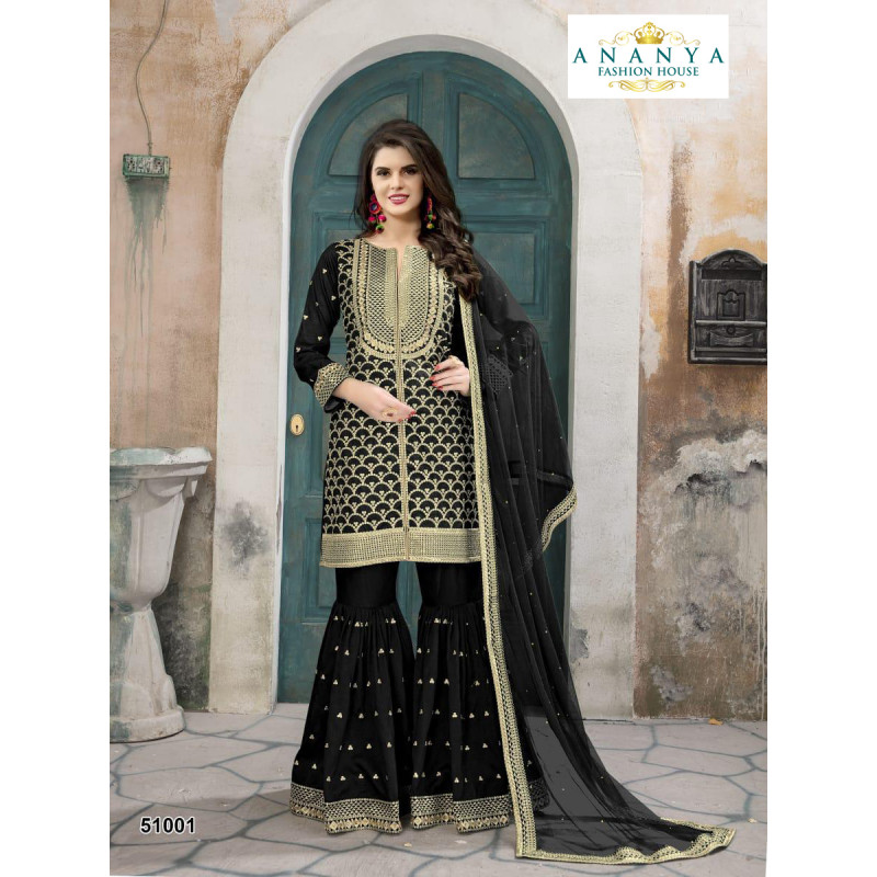 Melodic Black- Gold Silk- Santoon Salwar kameez