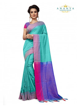 Incredible Light Blue Cotton Saree with Purple Blouse