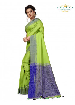 Exotic Green Cotton Saree with Blue Blouse