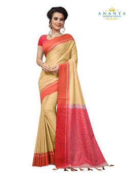 Gorgeous Beige Cotton Saree with Pink Blouse