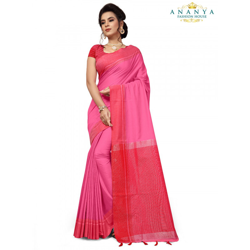 Magnificient Pink Cotton Saree with Pink Blouse