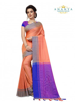 Plushy Peach Cotton Saree with Purple Blouse