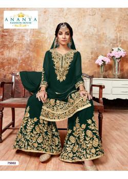 Luscious Bottle Green Faux Georgette Salwar kameez